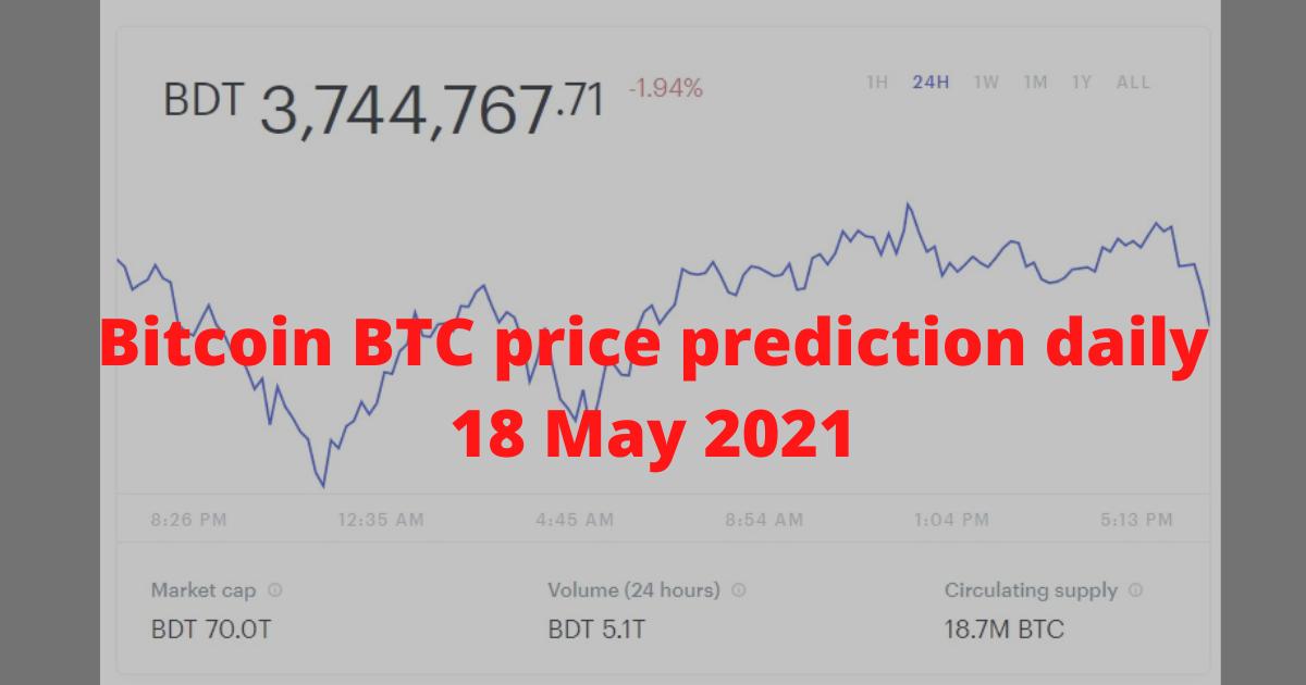 Bitcoin BTC price prediction daily 18 May 2021